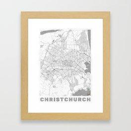 Christchurch Map Line Framed Art Print