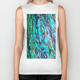 Glowing Aqua Abalone Shell Mother of Pearl Biker Tank