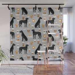 Great Dane coffee black coat color custom pet portrait dog art by pet friendly Wall Mural