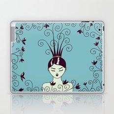 Strange Hair And Flowery Swirls Laptop & iPad Skin