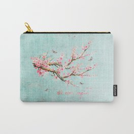 Its All Over Again - Romantic Spring Cherry Blossom Butterfly Illustration on Teal Watercolor Carry-All Pouch