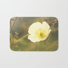 White Poppy On A Green Background #decor #society6 Bath Mat