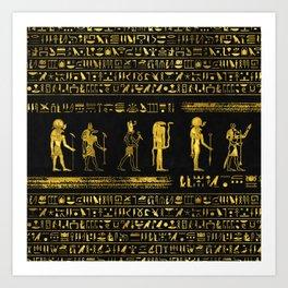 Golden Egyptian Gods and hieroglyphics on leather Art Print