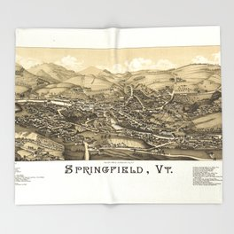 Aerial View of Springfield, Vermont (1886) Throw Blanket