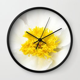 White Krinkled Peony Wall Clock