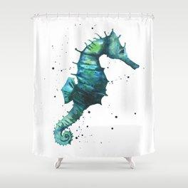 Seahorse print, seahorse painting, watercolor seahorse, green seahorse, ocean art Shower Curtain
