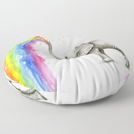 Baby Elephant Spraying Rainbow Whimsical Animals Floor Pillow