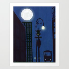 Last Stop For The Night Bus Art Print