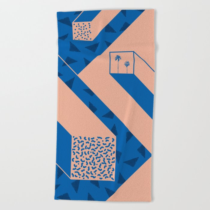 palm geometry Beach Towel