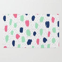 Pink blue brush strokes pattern Rug