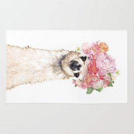 Llama with Beautiful Flowers Crown Rug