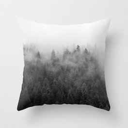 Black and White Mist Ombre Throw Pillow