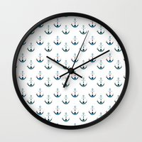anchors Wall Clocks featuring Anchors by Zen and Chic