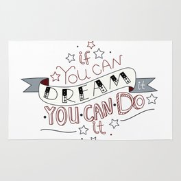 Lettering quote If you can dream it you can do it Rug
