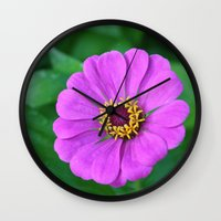 rileigh smirl Wall Clocks featuring Bright Flower by Rileigh Smirl