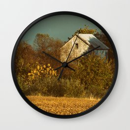 Abandoned Barn Colorized Landscape Photo Wall Clock