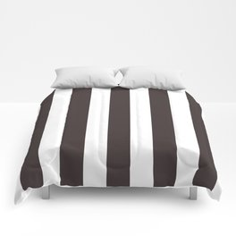 Black coffee - solid color - white vertical lines pattern Comforters