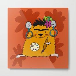 Hamster Frida Metal Print