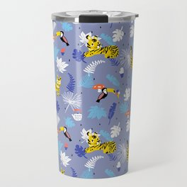Tiger, toucan bird, jungle animal, big cat, cactus planter Travel Mug