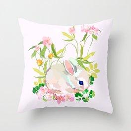 springtime bunny Throw Pillow