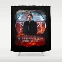 crowley Shower Curtains featuring Supernatural Crowley King of Hell S6 by Jamie Fontaine