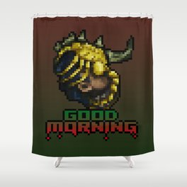 Good Morning - Facehugger - PixelArt Shower Curtain