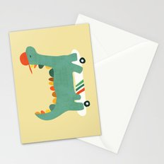 Dinosaur on retro skateboard Stationery Cards