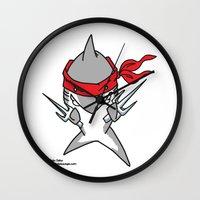 ninja turtle Wall Clocks featuring Ninja Shark by Oh, Dakuwaqa!