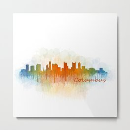 Columbus Ohio, City Skyline, watercolor  Cityscape Hq v3 Metal Print