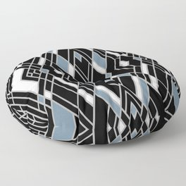 Art Deco Zoom Blue Floor Pillow