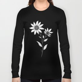 Wildflower line drawing | Botanical Art Long Sleeve T-shirt