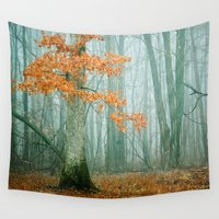 lonely Wall Tapestries featuring Autumn Woods by Olivia Joy StClaire