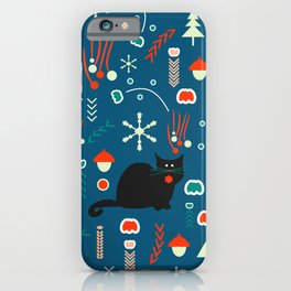 Black kitties in winter iPhone Case