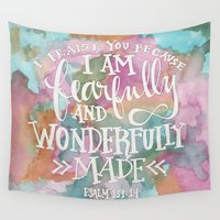 scripture Wall Tapestries featuring Fearfully and Wonderfully Made - Watercolor Scripture by Misty Diller by Misty Diller of Misty Michelle Design