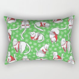 Christmas Cats in Knitted Sweaters Seamless Vector Pattern Rectangular Pillow