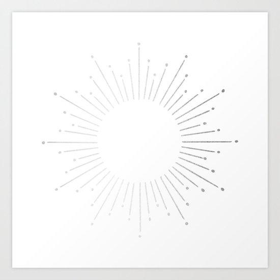 Sunburst Moonlight Silver on White Art Print