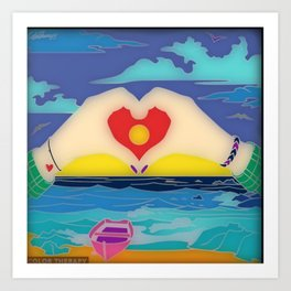 Fun With Coloring I Heart the Beach Art Print