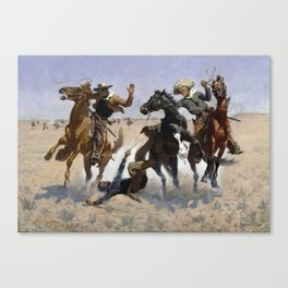 Frederic Remington - Aiding a Comrade Canvas Print