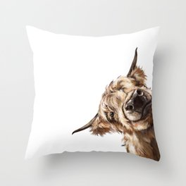 Sneaky Highland Cow Throw Pillow