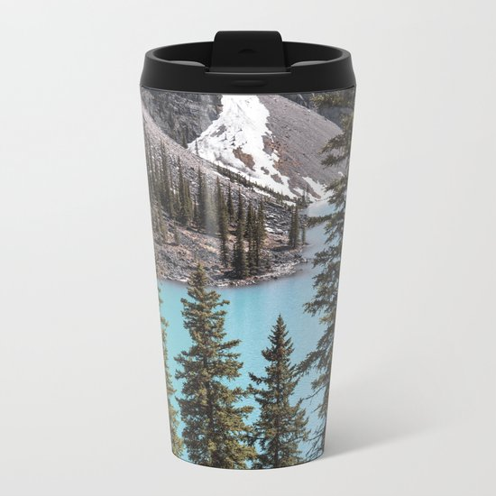 Moraine Lake Vertical Print Metal Travel Mug