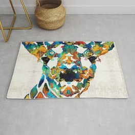 Colorful Giraffe Art - Curious - By Sharon Cummings Rug