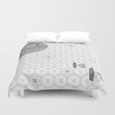 Star Wars Death Star, Tie Fighters, and Imperial Crest in Gray Duvet Cover