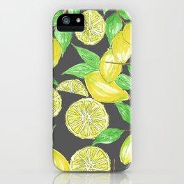 Watercolor Lemon Twig Allover Print Design iPhone Case