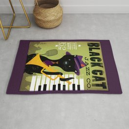 Black Cat Jazz Piano Music Club New Orleans Art Rug