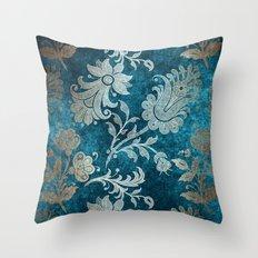 Aqua Teal Vintage Floral Damask Pattern Throw Pillow