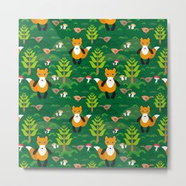 Fox and birds in the forest Metal Print