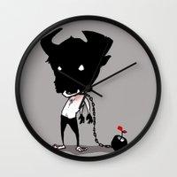 bull Wall Clocks featuring bull by Negative Dragon