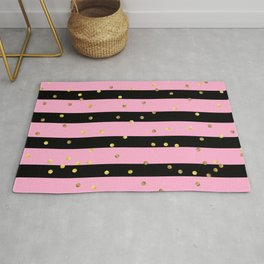 Christmas Golden confetti on Black and Pink Stripes Rug