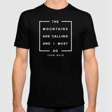 The Mountains are Calling Black LARGE Mens Fitted Tee
