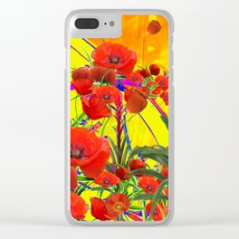 MODERN TROPICAL FLOWERS GARDEN DESIGN IN YELLOW-ORANGE COLORS Clear iPhone Case